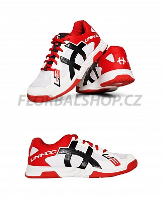 Unihoc U3 Speed Men white/red florbalová obuv
