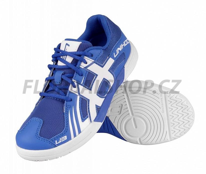 cfcfbd27596 Unihoc U3 JR blue white florbalová obuv
