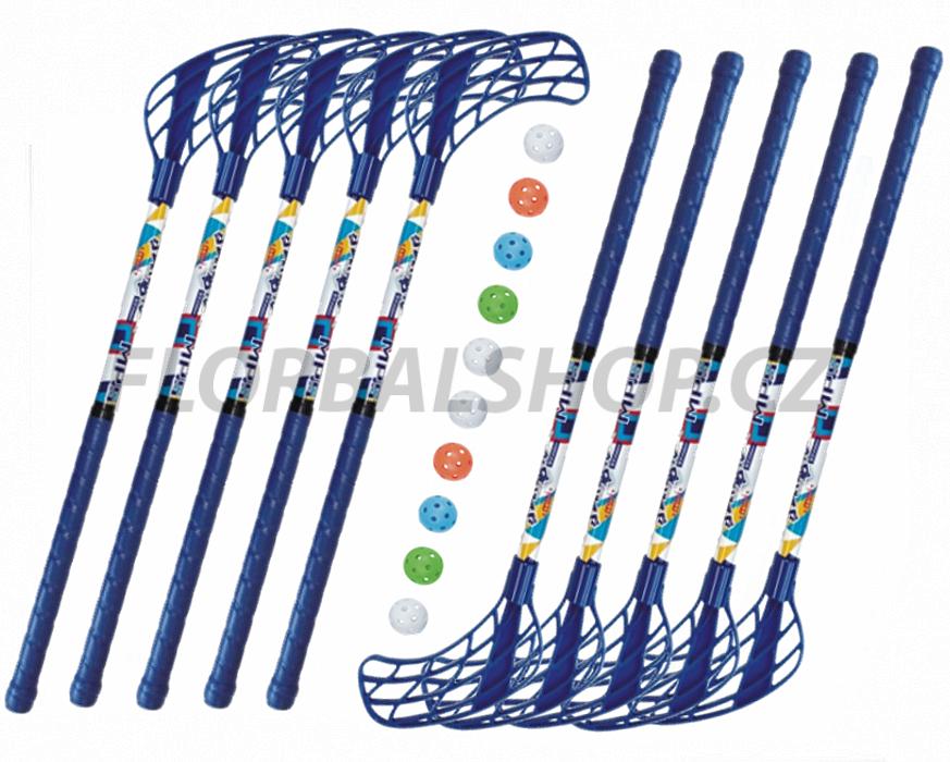 Florbalový set MPS Jungle mini Blue (10 hokejek)  162b42f15f