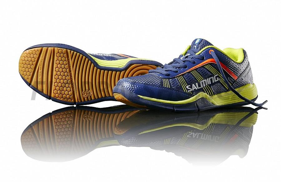 2656525b499 Salming Adder Junior Blue Yellow sálová obuv