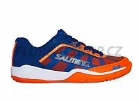 SALMING Falco Kid Limoges Blue/Orange Flame Velcro sálová obuv