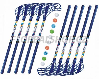Florbalový set MPS Jungle mini Blue (10 hokejek) 85ebec09e8